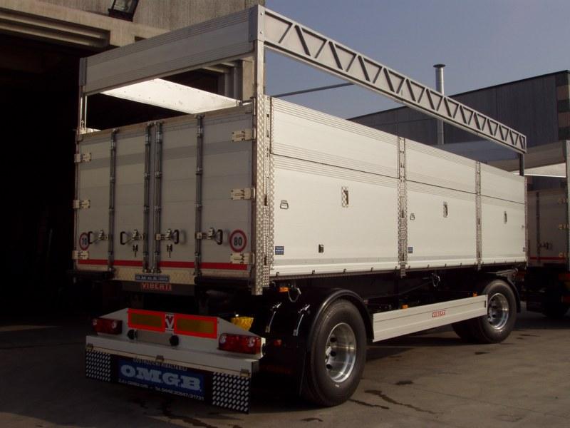 Ribaltabile con centina regolabile (si alza e si abbassa) per trasporto cereali bancali e pallet